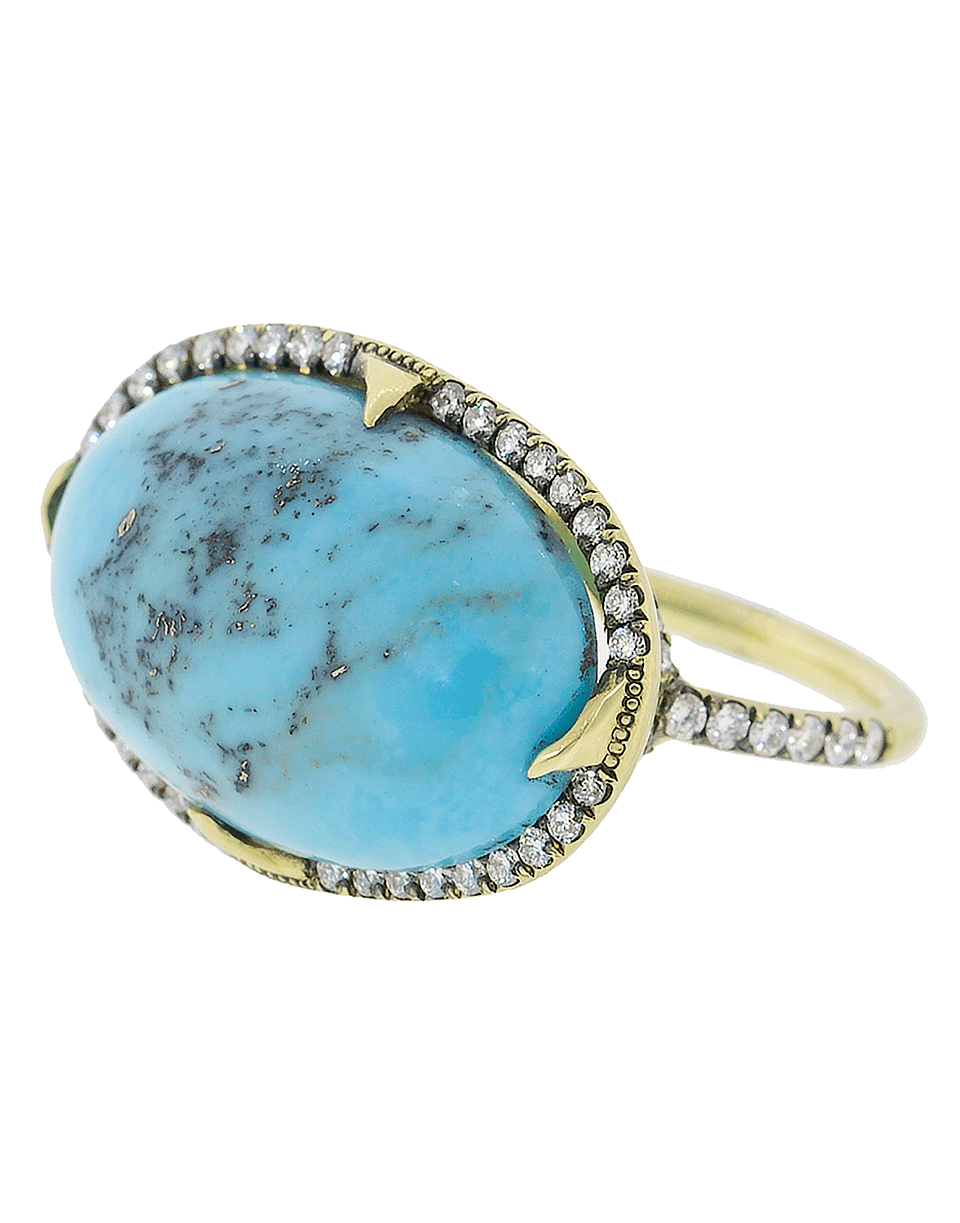 6ca356b8fb2 Sylva   Cie Turquoise East West And Diamond Ring In Ylwgold