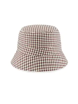 1218c3eb32e37 New Era Reversible Gingham Bucket Hat In Tan Pink