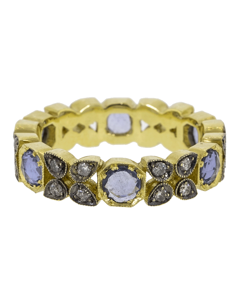54cf4272073 Sylva   Cie Sapphire And Grey Diamond Stack Ring In Ylwgold