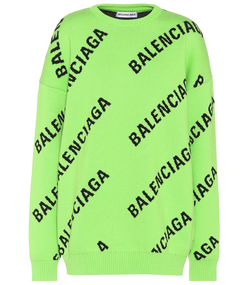Intarsia Logo Oversized Cotton blend Jumper In 3560 Green