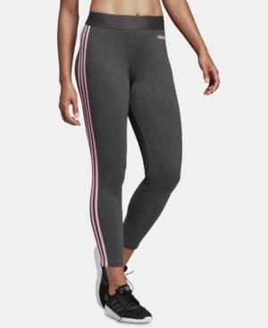 01dd19eeb0d98 Adidas Originals Adidas Essential 3-Stripe Leggings In Dark Grey Heather/ Pink
