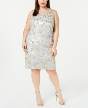 Plus Size Sequined Sheath Dress in Blue/Gold
