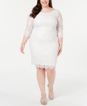 Plus Size Metallic Lace Sheath Dress in Ivory