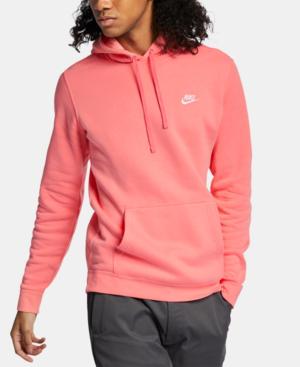 Men's Pullover Fleece Hoodie In Pink Gaze