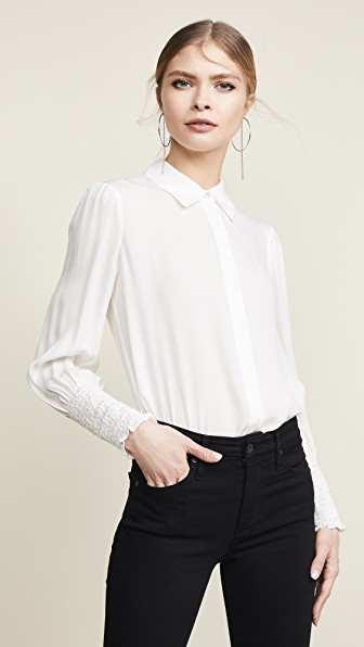 419a1aee07727b L Agence Lucien Smocked-Cuff Collared Blouse In Ivory