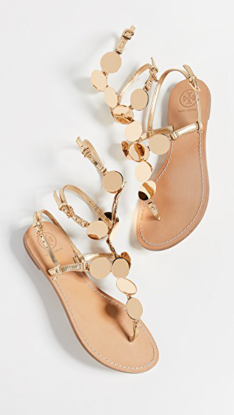 86f42a87e6f0 Tory Burch Patos Disk Gladiator Sandals In Gold Gold