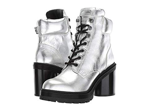 35cc7616626 Crosby Metallic Leather Hiking Boots in Silver
