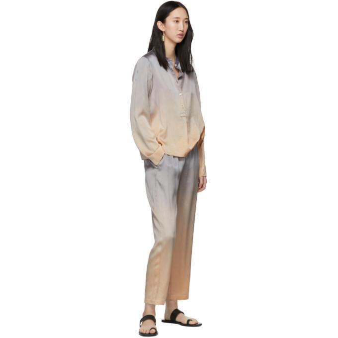 7e6c630ec16931 Raquel Allegra Silver Tie-Dye Silk Shirt In Silvertiedy