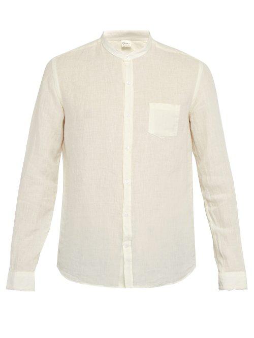 fca2022a25 Once Milano - Fray Trim Mandarin Collar Linen Shirt - Mens - Cream ...