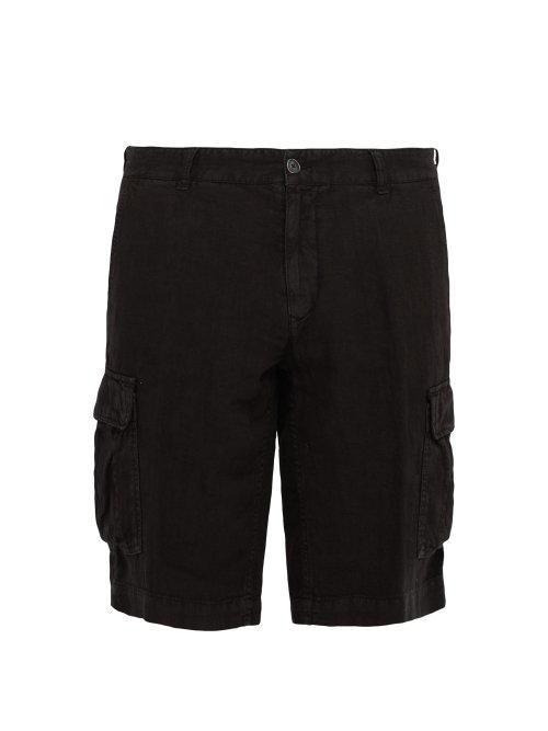 dc82de55f569 Once Milano - Crushed Linen Poplin Cargo Shorts - Mens - Black ...