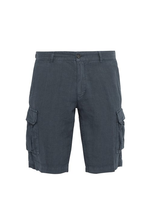 65d417fee266 Once Milano - Crushed Linen Poplin Cargo Shorts - Mens - Blue | ModeSens
