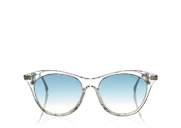 3a8670ab7c1 Tom Ford Micaela 53Mm Cat Eye Sunglasses - Crystal  Palladium  Grn Silv In  Clear