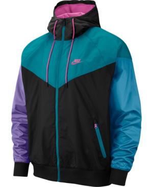 00cae4c3e1792 Nike Men's Sportswear Colorblock Windrunner Hooded Jacket, Black In  Blackk/Fushia