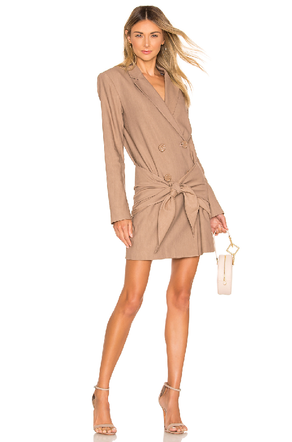c3520d436e89 Tibi Long Tie-Waist Double-Breasted Blazer Dress In Sable Brown ...