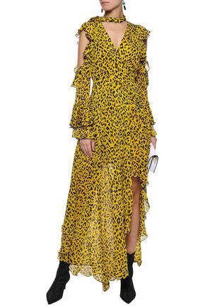 823e2e22c0c6 Diane Von Furstenberg Woman Cold-Shoulder Leopard-Print Silk-Georgette Maxi  Wrap Dress