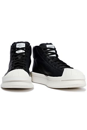 san francisco e19aa f9b81 Rick Owens X Adidas Woman Mastodon Textured-Leather Platform High-Top  Sneakers Black