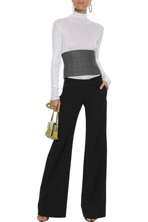 STELLA MCCARTNEY STELLA MCCARTNEY WOMAN WOOL-TWILL WIDE-LEG PANTS BLACK,3074457345620305256