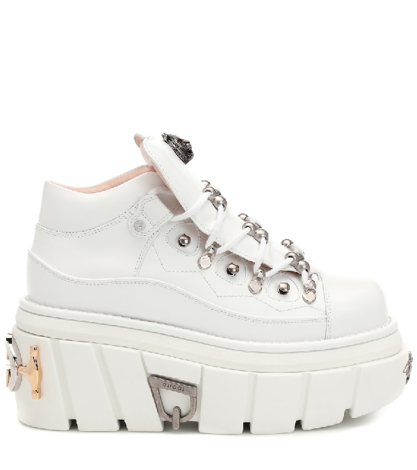 986a31c9488 Gucci Koire Oversized Leather Flatform Trainers In White