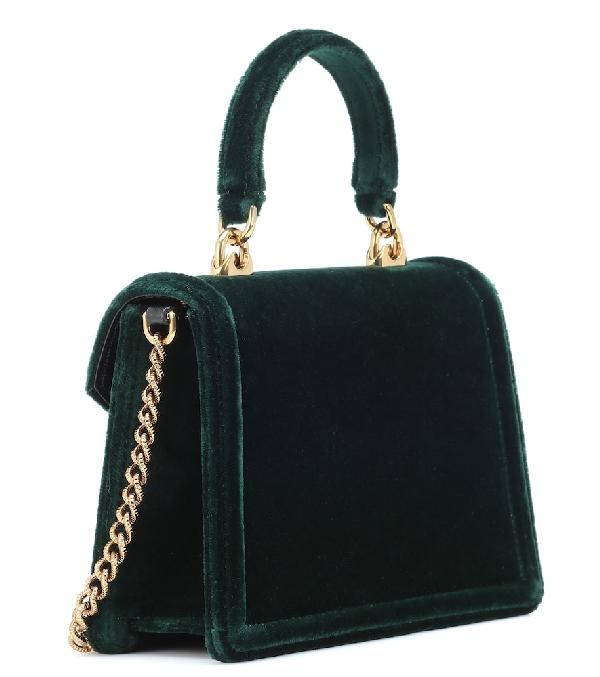 e9e59682eac Dolce & Gabbana Small Devotion Velvet Shoulder Bag In Green | ModeSens