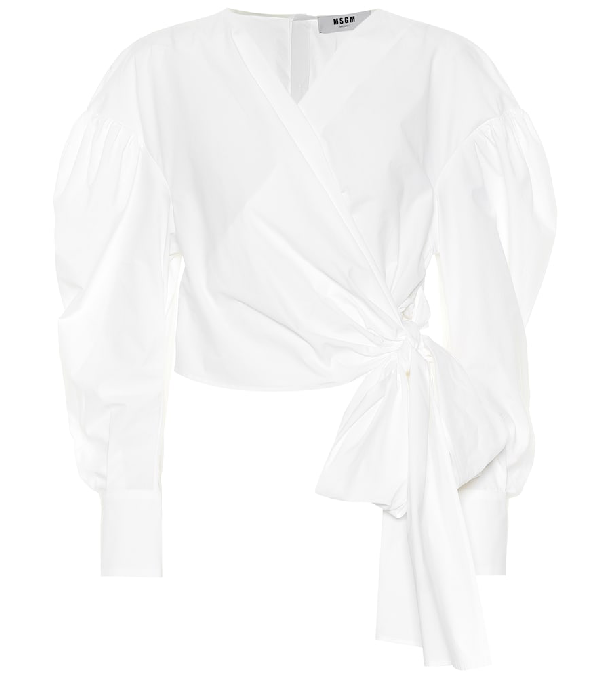 3452e077253 Msgm Puff-Sleeve Cropped Wrap Blouse In White | ModeSens