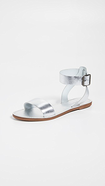 0788367301d Madewell The Boardwalk Ankle-Strap Sandals In Metallic In Silver ...
