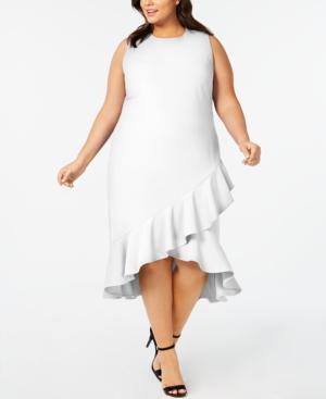 Calvin Klein Plus Size Ruffled High-Low Midi Dress In Cream | ModeSens