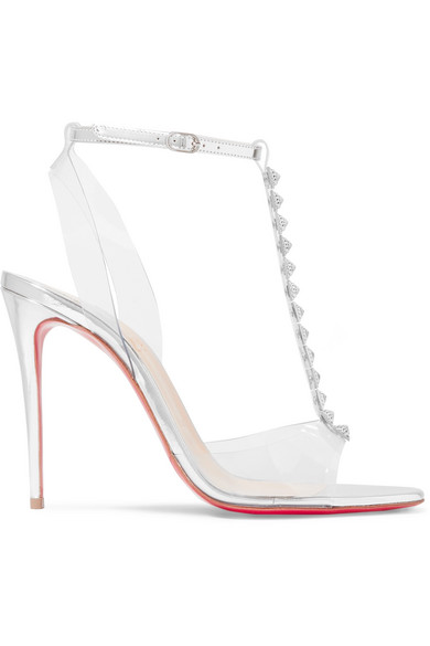 the best attitude 7ade9 c99f4 Faridavavie See-Through Vinyl/Metallic Red Sole T-Strap Sandals in Silver