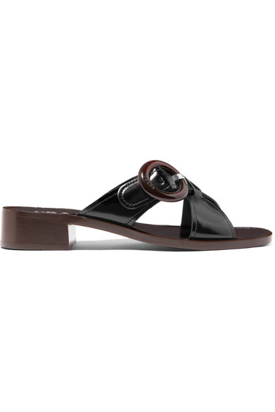 Prada Spazzolato Leather Slide Sandals In Nero