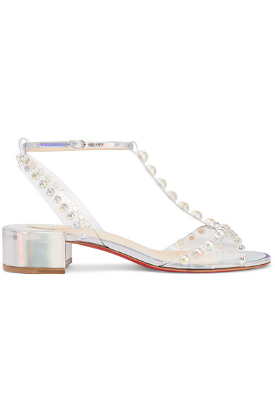 on sale b28d0 9f7af Faridaravie 25 Embellished Pvc And Iridescent Leather Sandals in Silver