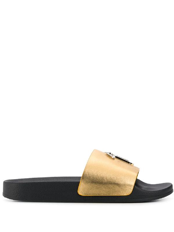 b6a9620ce Giuseppe Zanotti Slide Sandal In Sm000 Gold
