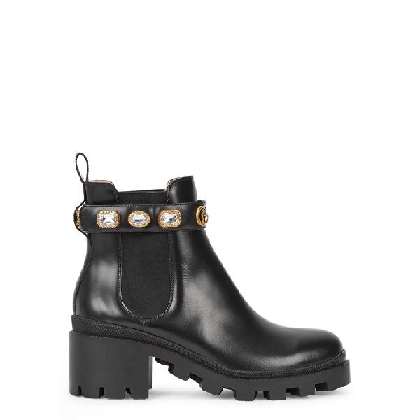 36707e1af32 Gucci Trip Crystal-Embellished Leather Chelsea Boots In 1000 Black ...