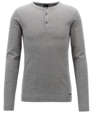5fdf8ec09 Hugo Boss Boss Men's Slim Fit Long-Sleeve Cotton Henley Shirt In Light Grey