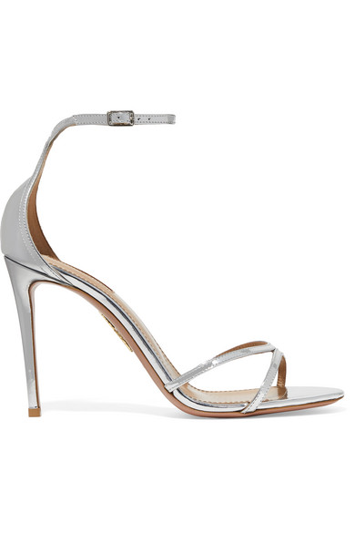 21bf5a670 Aquazzura Purist 105 Mirrored-Leather Sandals In Silver
