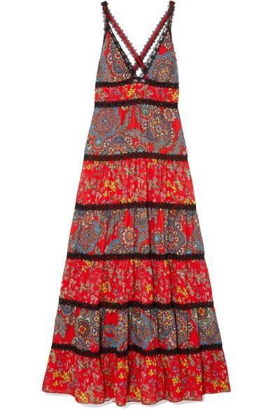 0138beec48 ALICE AND OLIVIA. Karolina Crochet-Trimmed Printed Crepe Maxi Dress ...