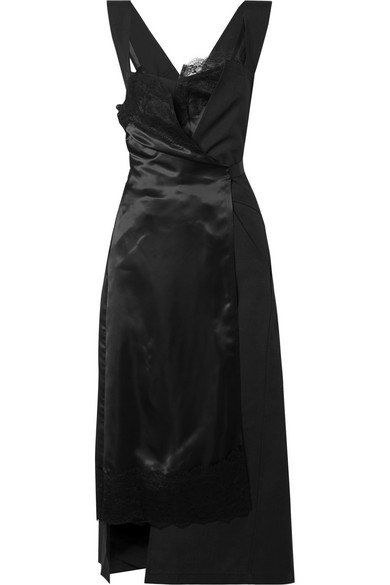 Lace Trimmed Paneled Satin And Twill Wrap Dress In Black