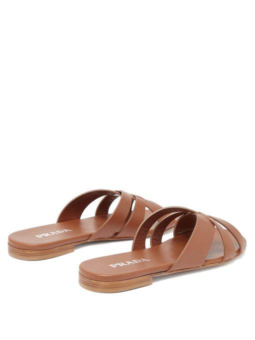 Prada Woven Strap Slide Sandal In Tan