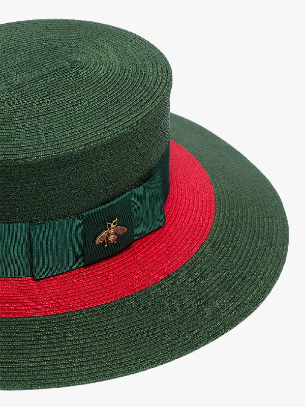 73ac385e Gucci Embellished Grosgrain-Trimmed Straw Hat In 3066 Green | ModeSens