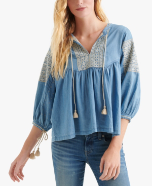 c5bb4f23e8c76b Lucky Brand Cotton Embroidered Peasant Top In Light Blue | ModeSens