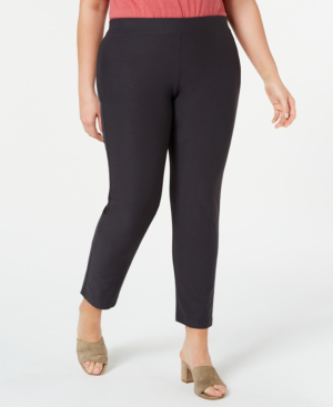 0b532f1c3f2 Eileen Fisher Plus Size Washable Stretch-Crepe Slim Ankle Pants In Graphite