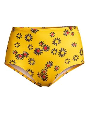 5463a72800 Solid & Striped The Ginger High-Waist Floral Bikini Bottom In Yellow Daisy