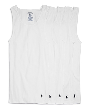 e1a5ce7031aef0 Polo Ralph Lauren Classic Fit Ribbed Tank Top - Pack Of 5 In White Cruise