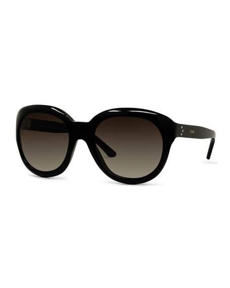 8b4216cfc8 Celine Gradient Round Acetate Sunglasses In Black