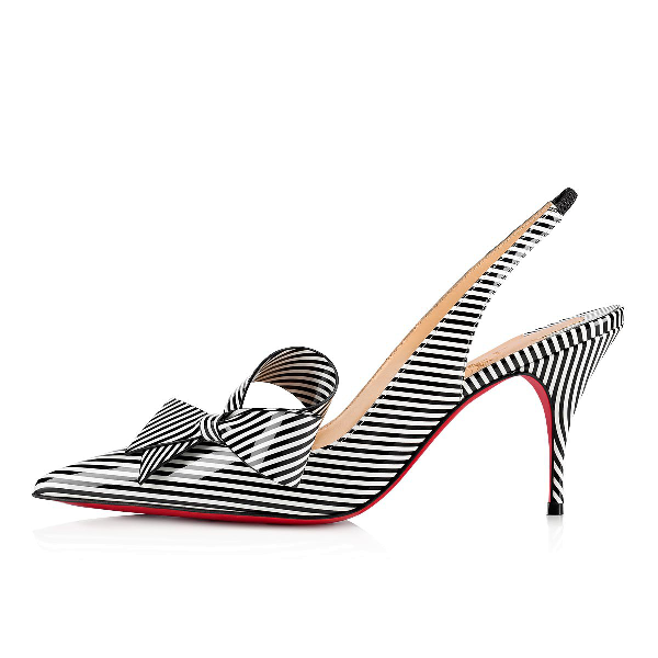 df309c3cd9a Christian Louboutin Clare Nodo Striped Side-Bow Red Sole Slingback Pumps In  Black Stripe