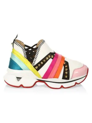 0fbde7ae02c Christian Louboutin 123 Run Rainbow Red Sole Sneakers In White Multi ...