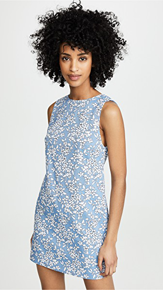 703c52204d Alice And Olivia Clyde Floral-Print Sleeveless Mini Shift Dress In  Cornflower White