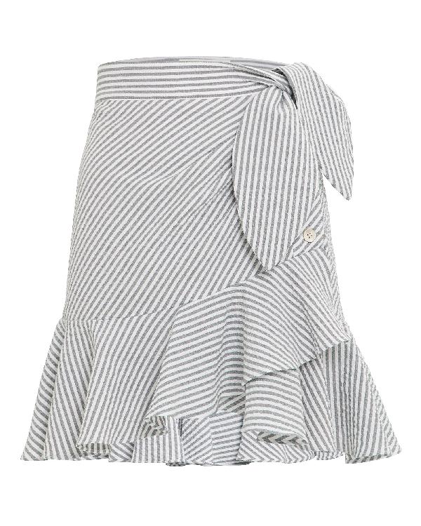 acb5d174a Veronica Beard Kaia Ruffle Mini Skirt In Grey,White | ModeSens