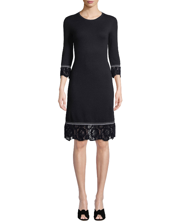 bf0869cee20 Tory Burch Lace-Trim Merino-Wool Sweater Dress In Medium Navy