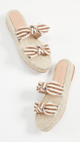 bb3304ee68e57 Women's Daisy Open-Toe Leather Espadrille Platform Slide Sandals in  Amber/Natural