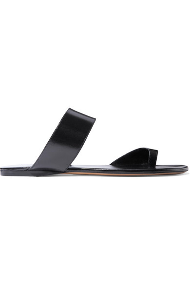 d623f9926733 The Row Infradito Flat Leather Toe-Strap Slide Sandals In Black ...