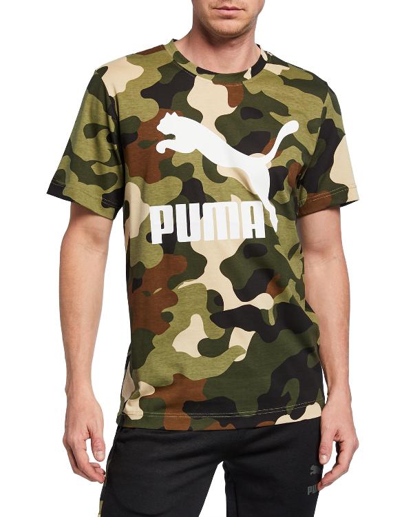 a839057bd66 Puma Men s Wild Pack Camouflage Logo T-Shirt